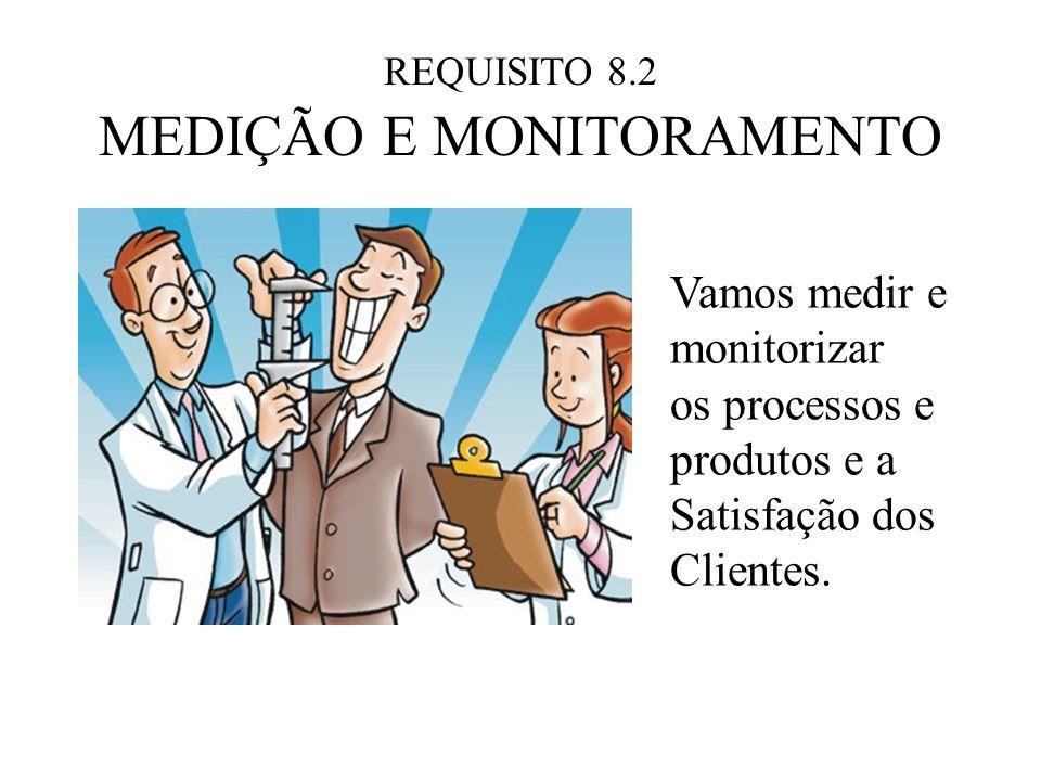 REQUISITO 8.2 MEDIÇÃO E MONITORAMENTO Vamos medir e monitorizar os processos e produtos e a Satisfação dos Clientes.