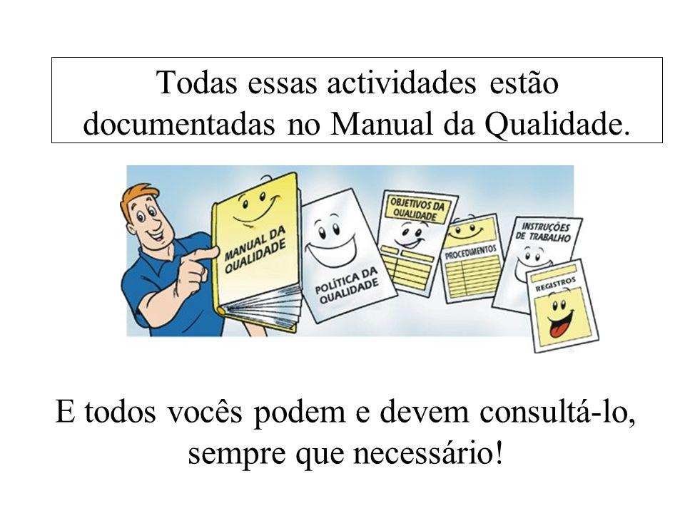 Todas essas actividades estão documentadas no Manual da Qualidade. E todos vocês podem e devem consultá-lo, sempre que necessário!