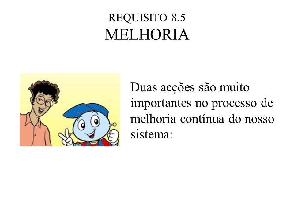 REQUISITO 8.5 MELHORIA Duas acções são muito importantes no processo de melhoria contínua do nosso sistema: