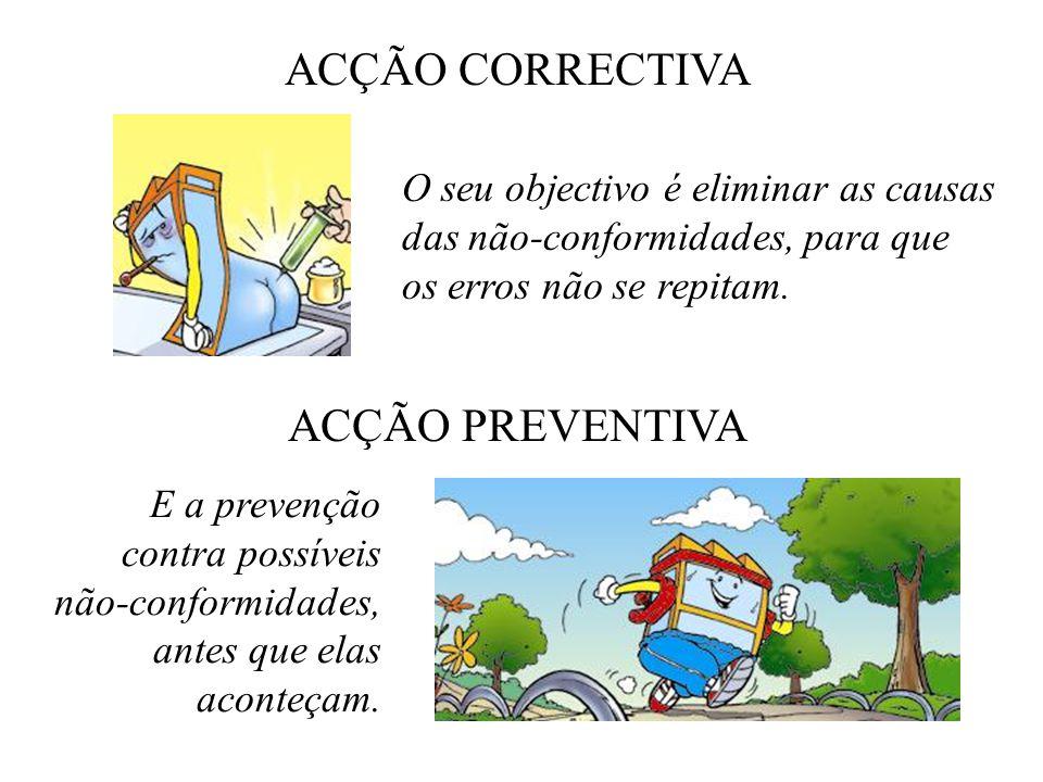 ACÇÃO CORRECTIVA O seu objectivo é eliminar as causas das não-conformidades, para que os erros não se repitam. ACÇÃO PREVENTIVA E a prevenção contra p