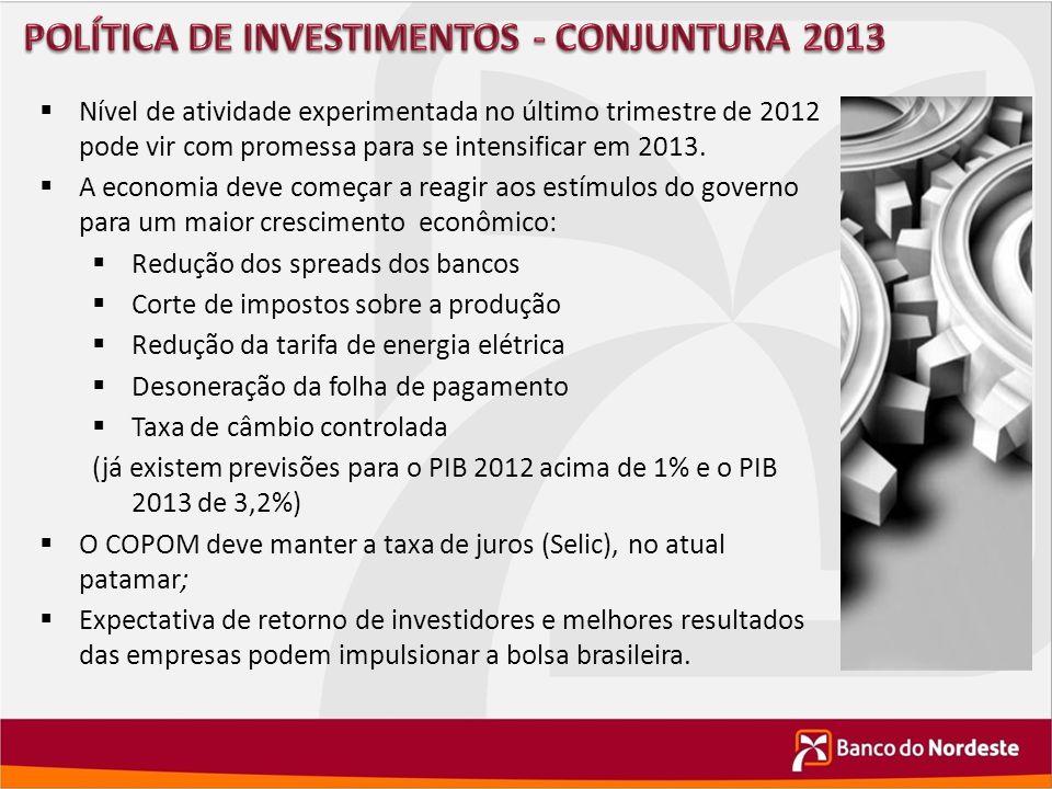  Nível de atividade experimentada no último trimestre de 2012 pode vir com promessa para se intensificar em 2013.  A economia deve começar a reagir
