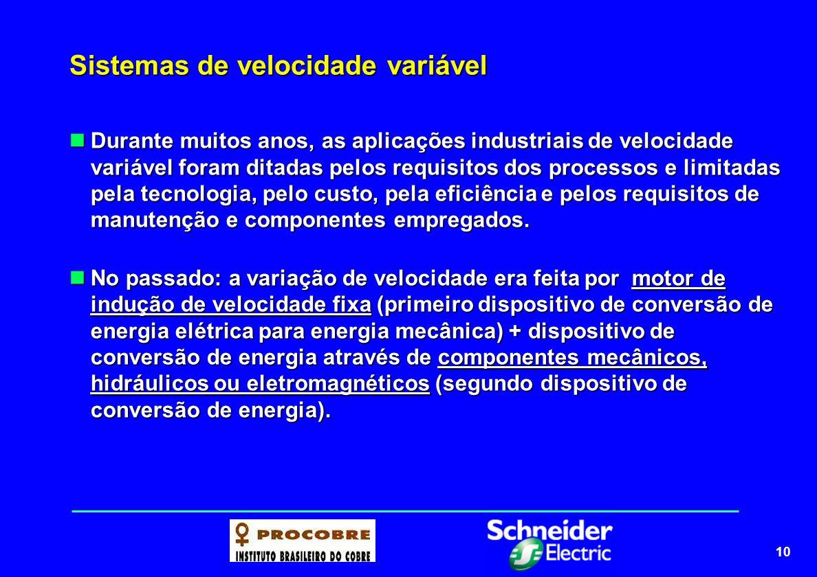 10 Sistemas de velocidade variável Durante muitos anos, as aplicações industriais de velocidade variável foram ditadas pelos requisitos dos processos