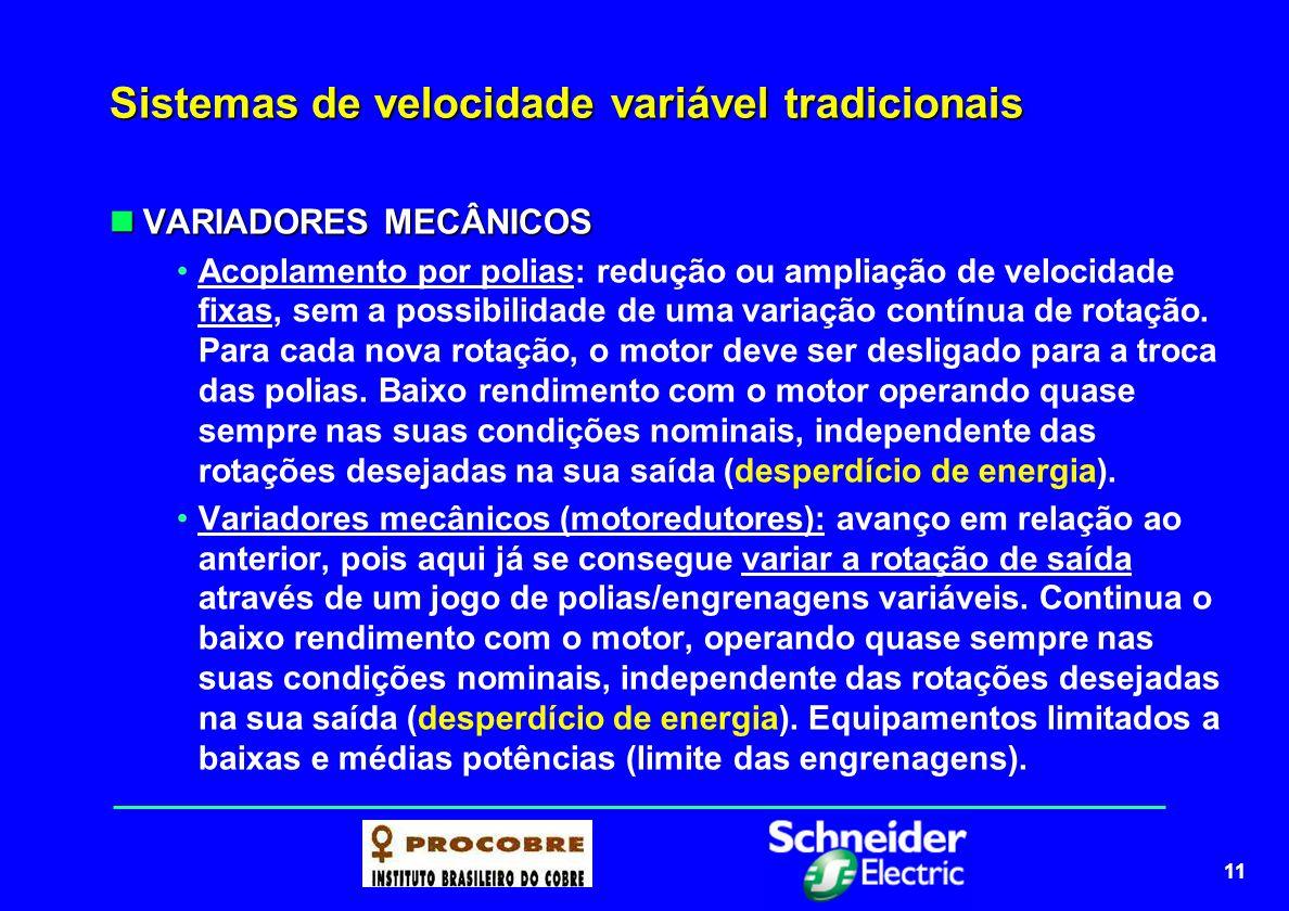 11 Sistemas de velocidade variável tradicionais VARIADORES MECÂNICOS VARIADORES MECÂNICOS Acoplamento por polias: redução ou ampliação de velocidade f