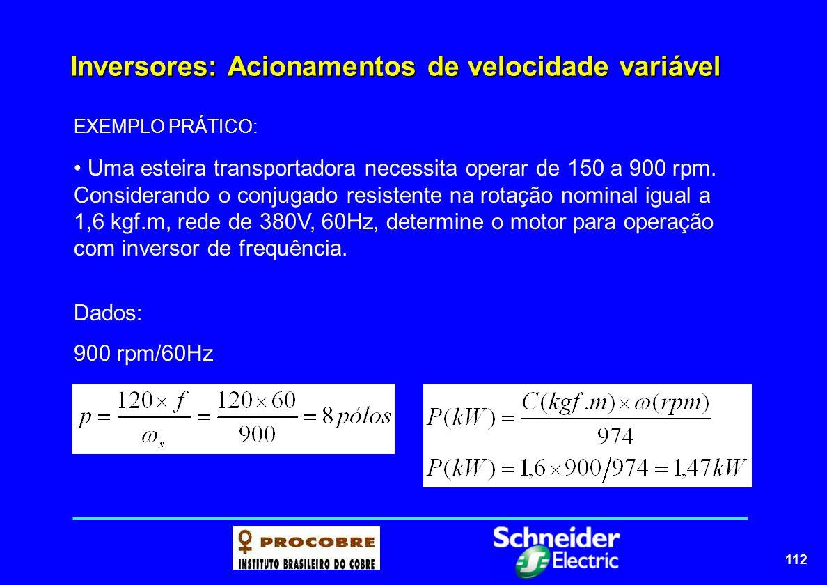112 Inversores: Acionamentos de velocidade variável EXEMPLO PRÁTICO: Uma esteira transportadora necessita operar de 150 a 900 rpm. Considerando o conj