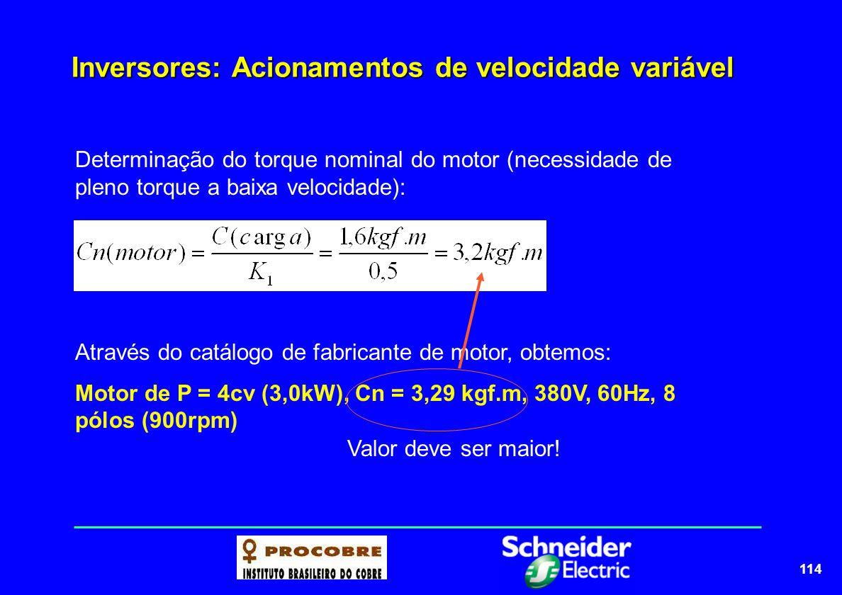 114 Inversores: Acionamentos de velocidade variável Determinação do torque nominal do motor (necessidade de pleno torque a baixa velocidade): Através