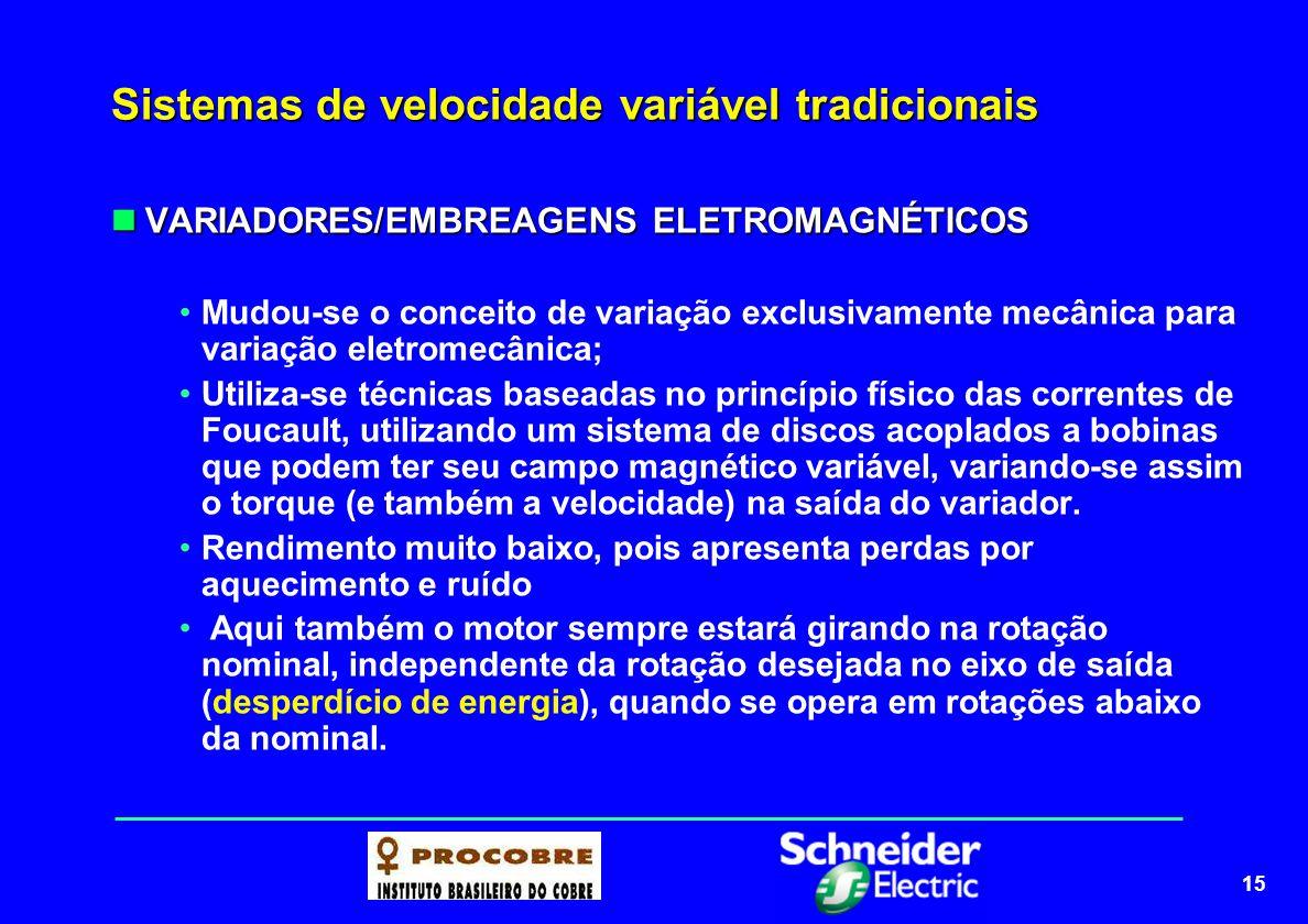 15 Sistemas de velocidade variável tradicionais VARIADORES/EMBREAGENS ELETROMAGNÉTICOS VARIADORES/EMBREAGENS ELETROMAGNÉTICOS Mudou-se o conceito de v