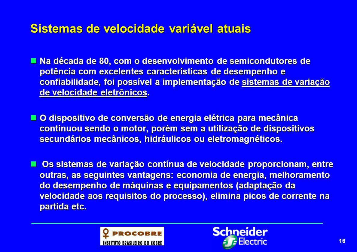 16 Sistemas de velocidade variável atuais Na década de 80, com o desenvolvimento de semicondutores de potência com excelentes características de desem