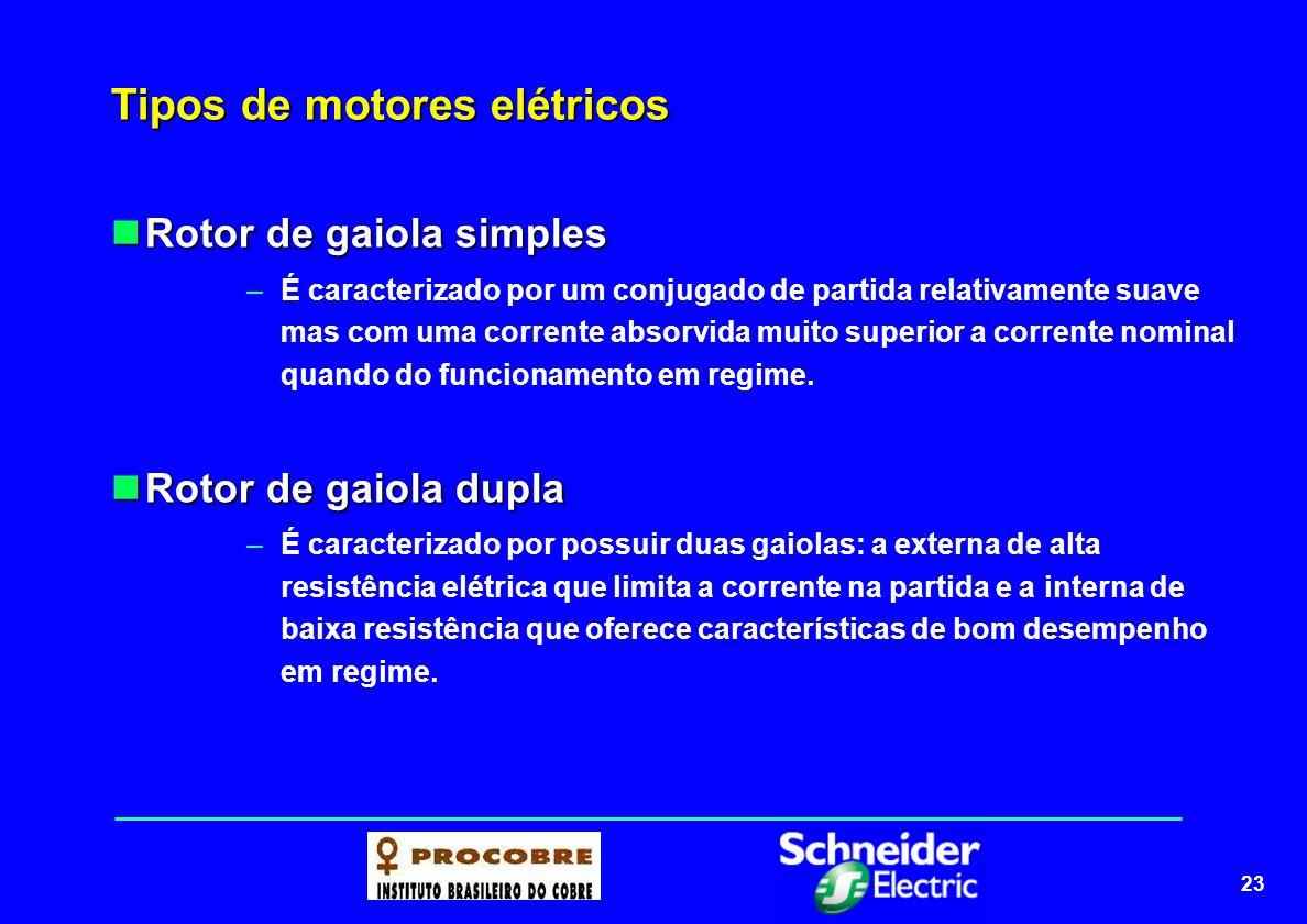 23 Tipos de motores elétricos Rotor de gaiola simples Rotor de gaiola simples –É caracterizado por um conjugado de partida relativamente suave mas com