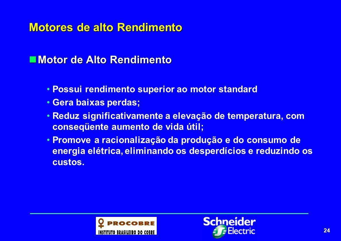 24 Motores de alto Rendimento Motor de Alto Rendimento Motor de Alto Rendimento Possui rendimento superior ao motor standard Gera baixas perdas; Reduz