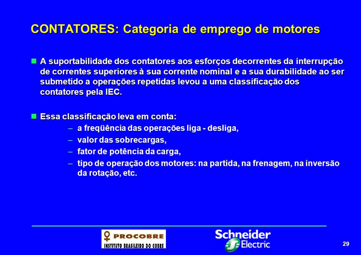 29 CONTATORES: Categoria de emprego de motores A suportabilidade dos contatores aos esforços decorrentes da interrupção de correntes superiores à sua