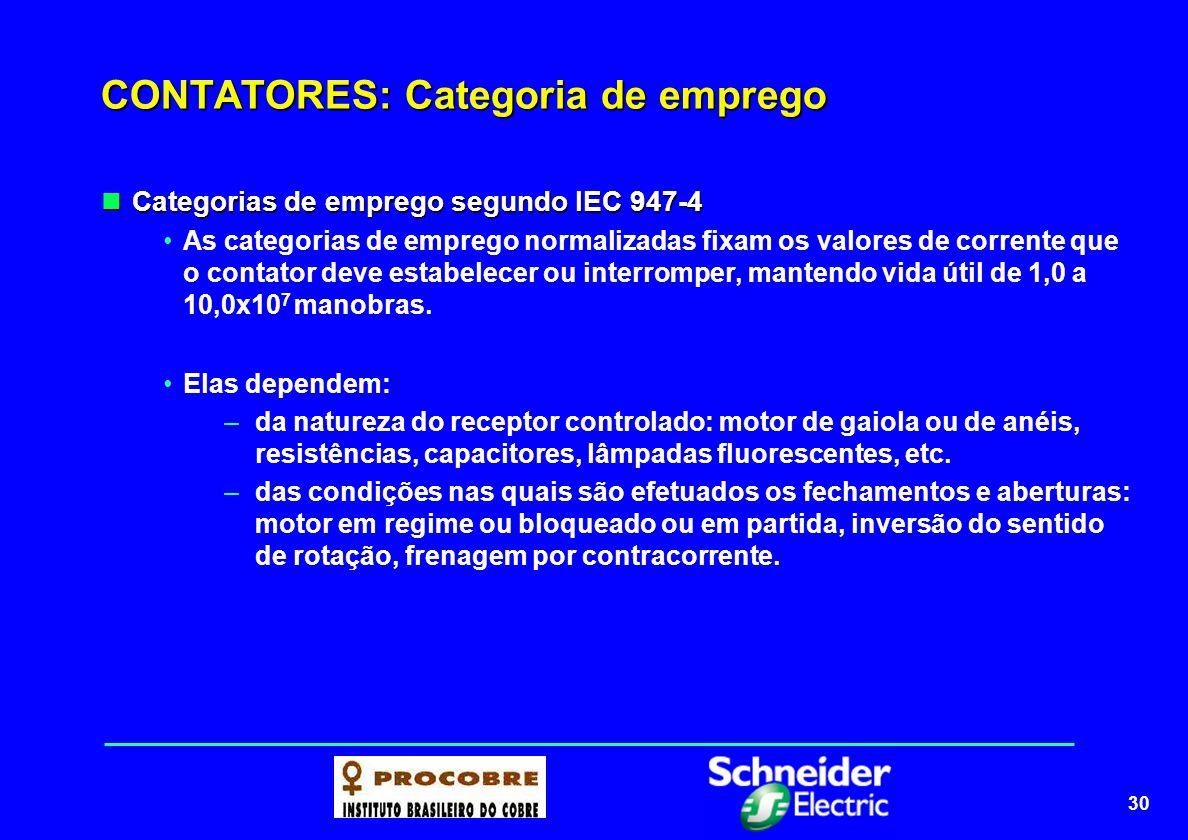 30 CONTATORES: Categoria de emprego Categorias de emprego segundo IEC 947-4 Categorias de emprego segundo IEC 947-4 As categorias de emprego normaliza