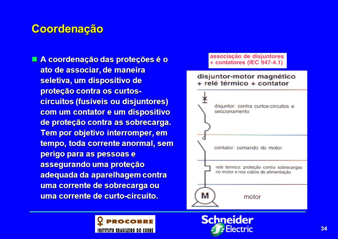 34 Coordenação A coordenação das proteções é o ato de associar, de maneira seletiva, um dispositivo de proteção contra os curtos- circuitos (fusíveis
