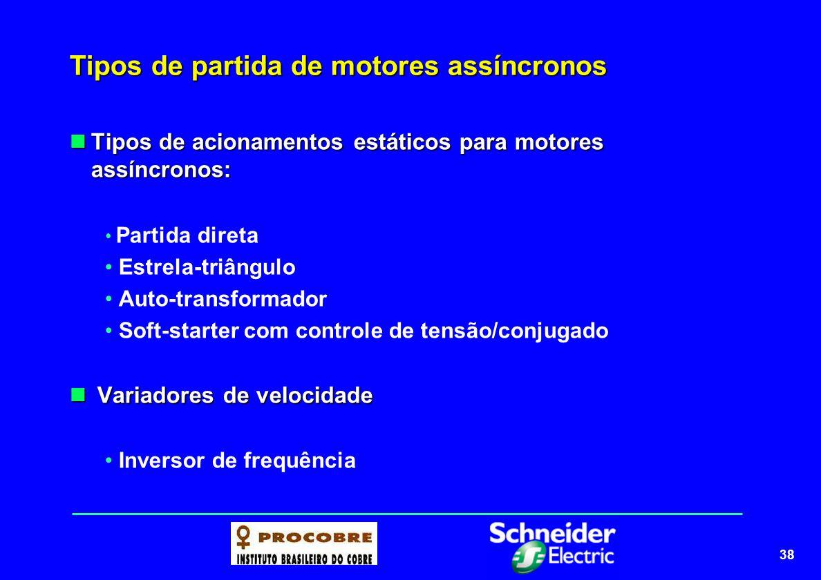 38 Tipos de partida de motores assíncronos Tipos de acionamentos estáticos para motores assíncronos: Tipos de acionamentos estáticos para motores assí