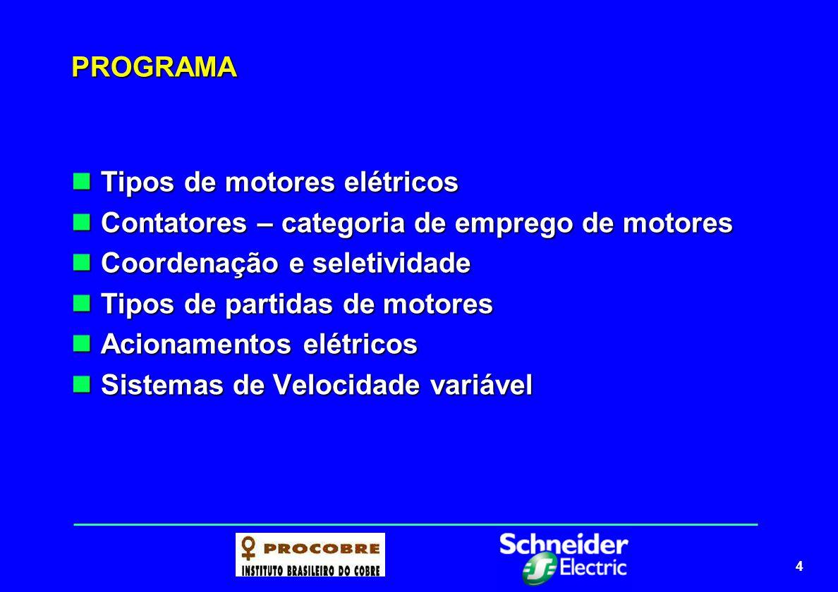 4 PROGRAMA Tipos de motores elétricos Tipos de motores elétricos Contatores – categoria de emprego de motores Contatores – categoria de emprego de mot