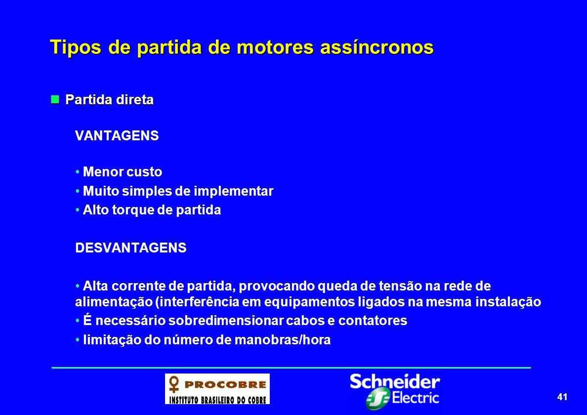 41 Tipos de partida de motores assíncronos Partida direta Partida direta VANTAGENS Menor custo Muito simples de implementar Alto torque de partida DES