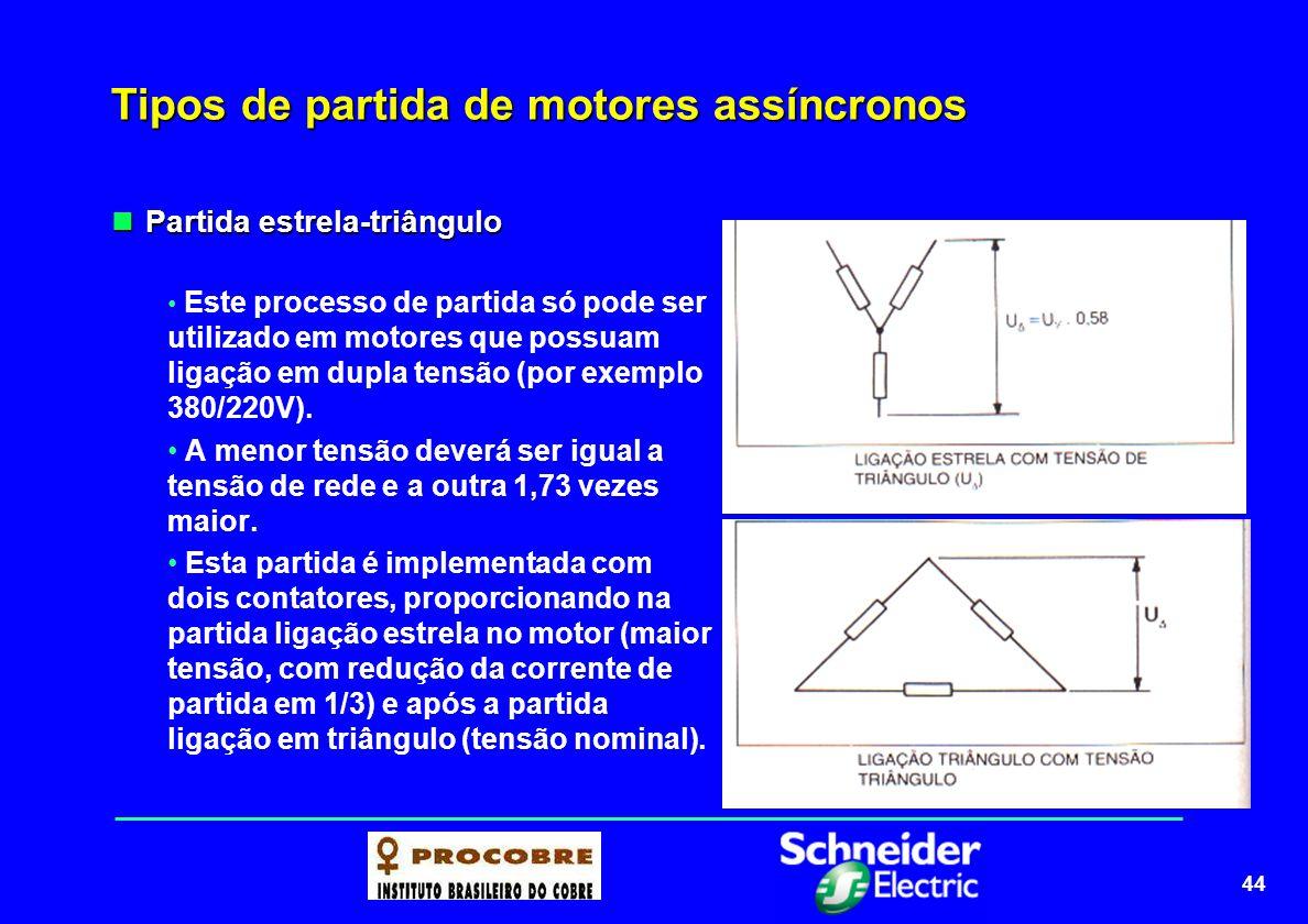 44 Tipos de partida de motores assíncronos Partida estrela-triângulo Partida estrela-triângulo Este processo de partida só pode ser utilizado em motor