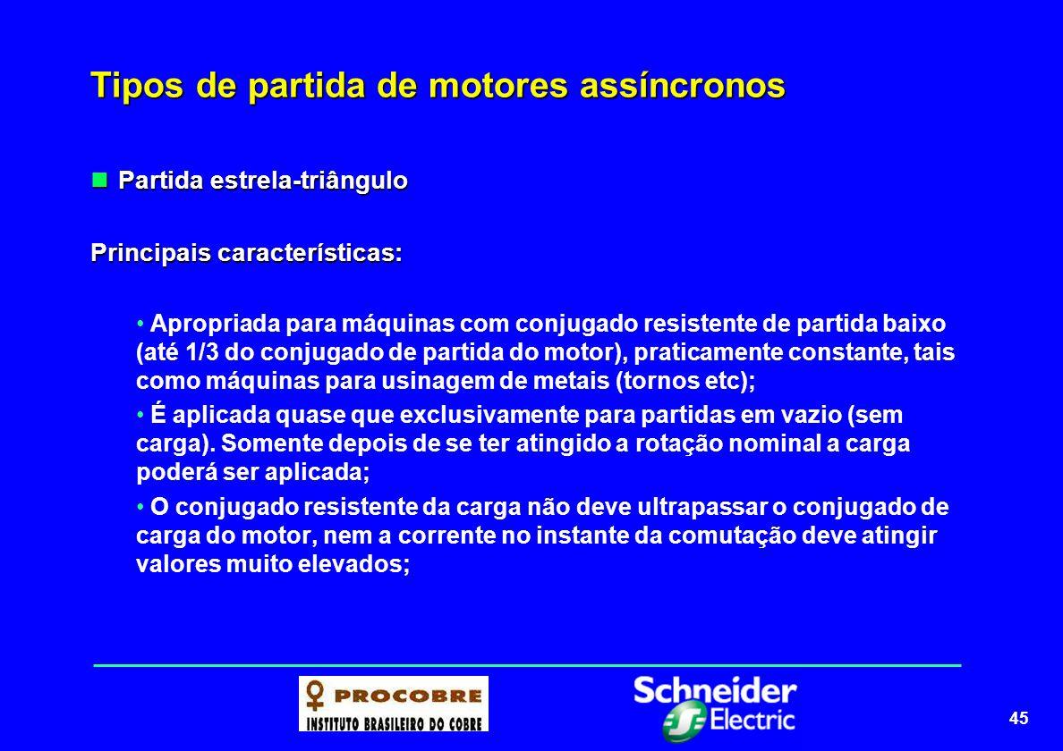 45 Tipos de partida de motores assíncronos Partida estrela-triângulo Partida estrela-triângulo Principais características: Apropriada para máquinas co