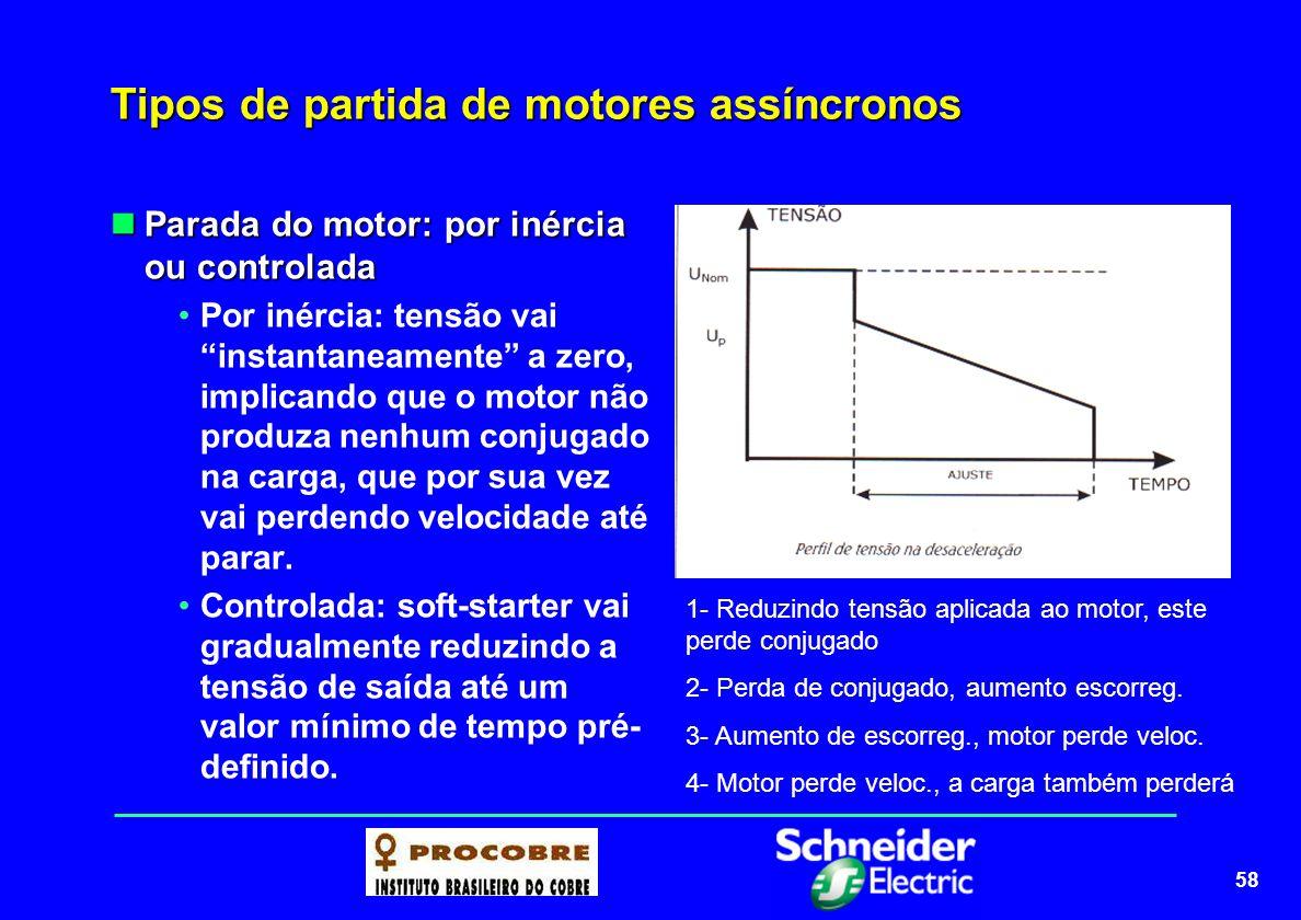 58 Tipos de partida de motores assíncronos Parada do motor: por inércia ou controlada Parada do motor: por inércia ou controlada Por inércia: tensão v