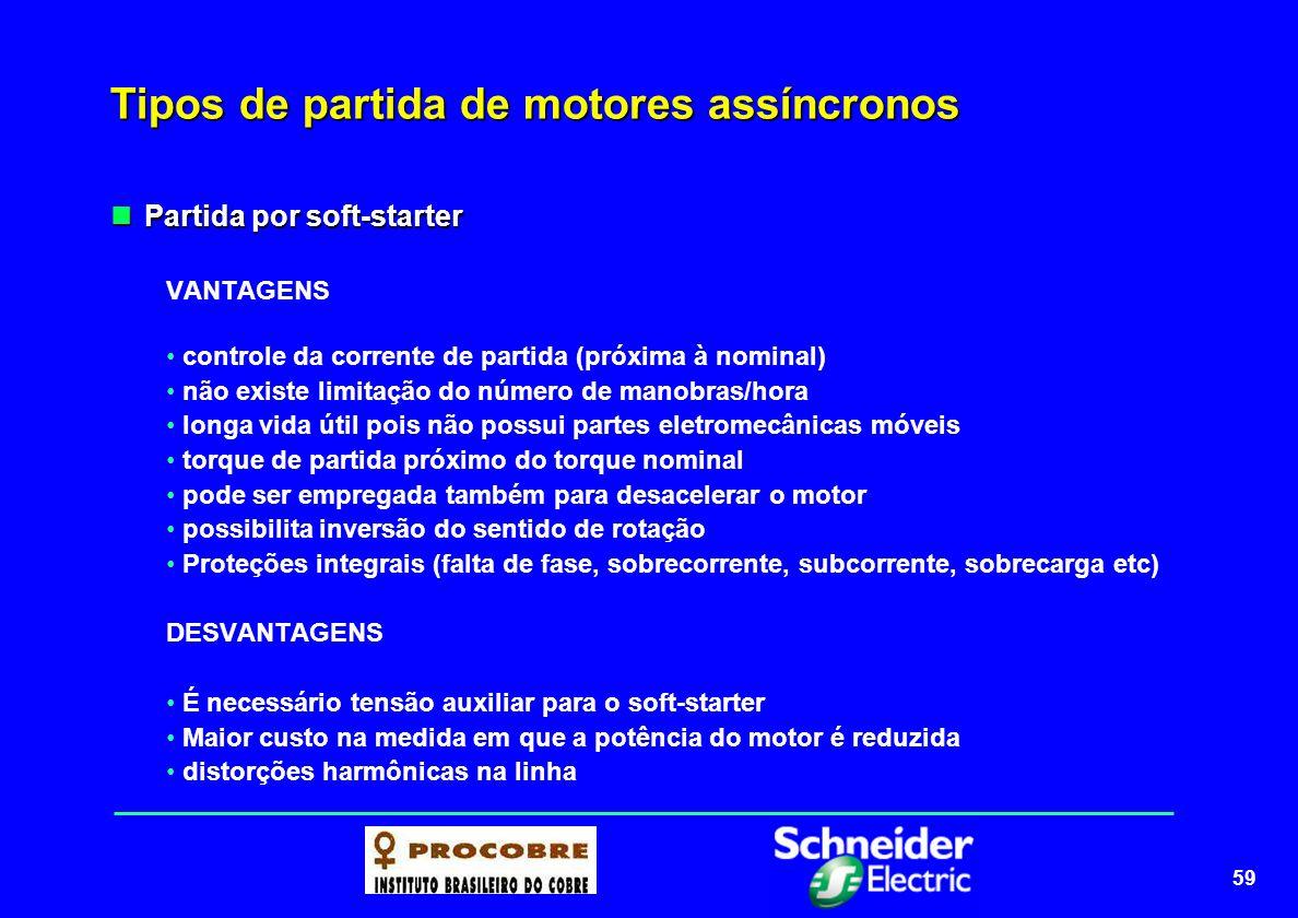 59 Tipos de partida de motores assíncronos Partida por soft-starter Partida por soft-starter VANTAGENS controle da corrente de partida (próxima à nomi