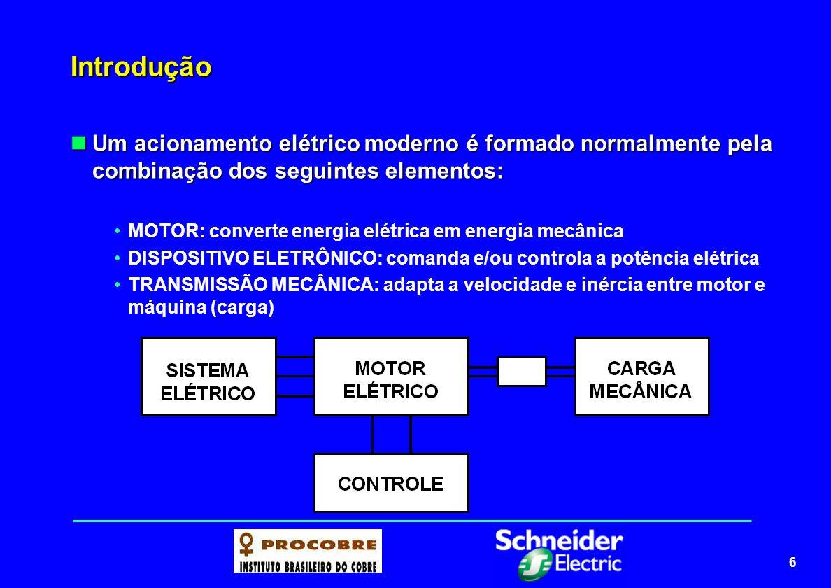 6 Introdução Um acionamento elétrico moderno é formado normalmente pela combinação dos seguintes elementos: Um acionamento elétrico moderno é formado