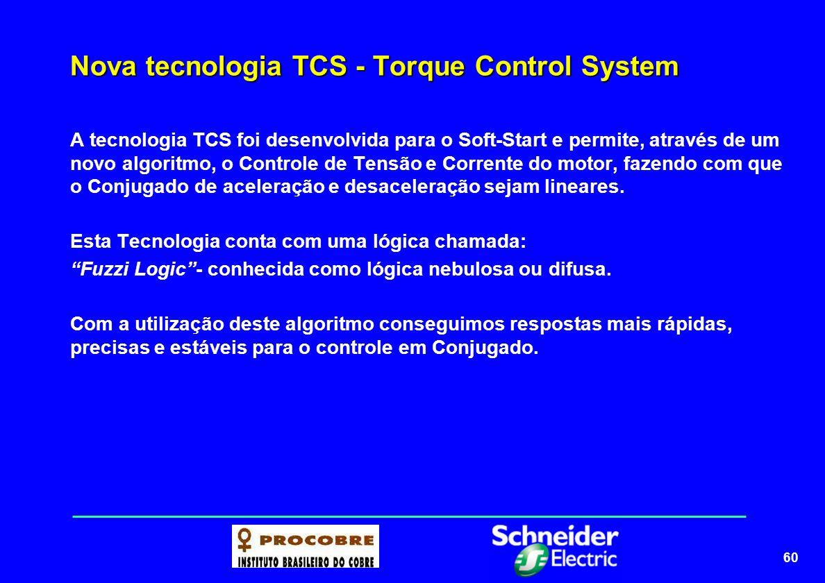 60 Nova tecnologia TCS - Torque Control System A tecnologia TCS foi desenvolvida para o Soft-Start e permite, através de um novo algoritmo, o Controle