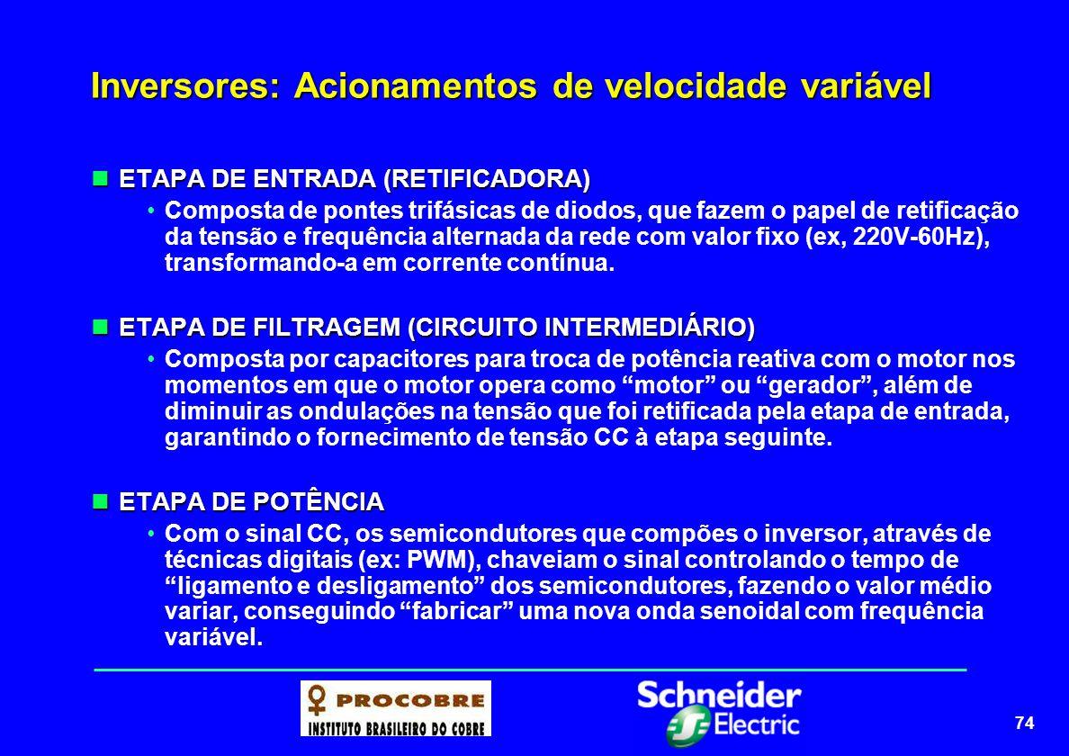 74 Inversores: Acionamentos de velocidade variável ETAPA DE ENTRADA (RETIFICADORA) ETAPA DE ENTRADA (RETIFICADORA) Composta de pontes trifásicas de di
