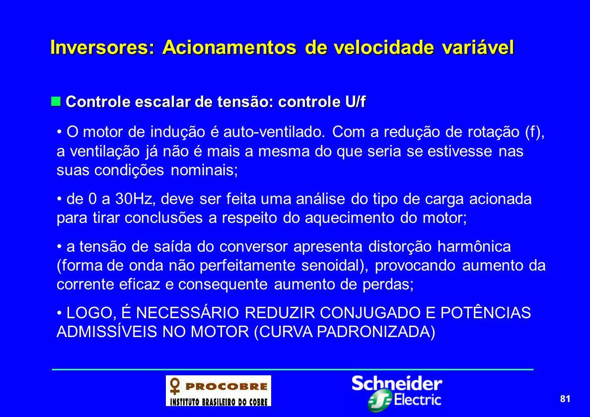81 Inversores: Acionamentos de velocidade variável Controle escalar de tensão: controle U/f Controle escalar de tensão: controle U/f O motor de induçã
