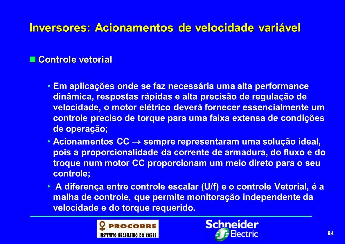 84 Inversores: Acionamentos de velocidade variável Controle vetorial Controle vetorial Em aplicações onde se faz necessária uma alta performance dinâm