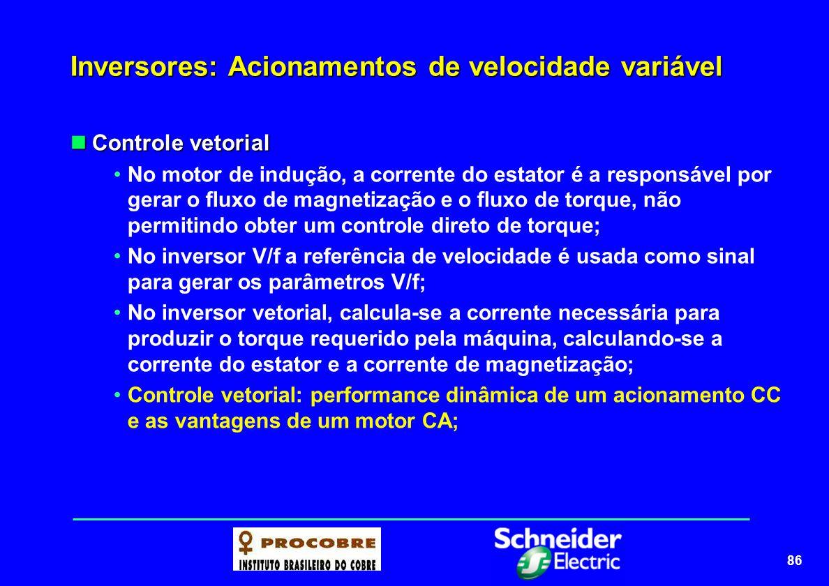 86 Inversores: Acionamentos de velocidade variável Controle vetorial Controle vetorial No motor de indução, a corrente do estator é a responsável por
