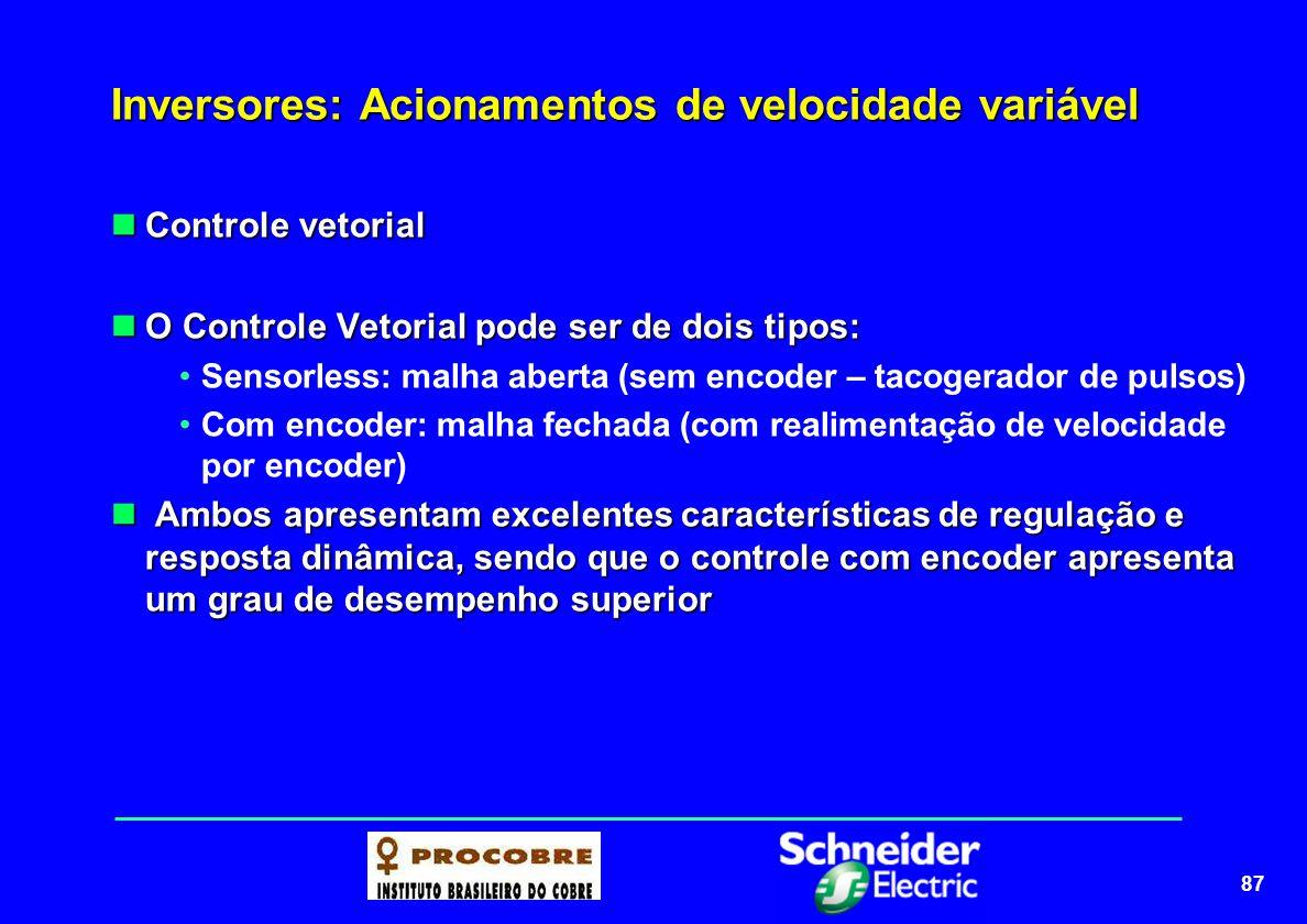 87 Inversores: Acionamentos de velocidade variável Controle vetorial Controle vetorial O Controle Vetorial pode ser de dois tipos: O Controle Vetorial