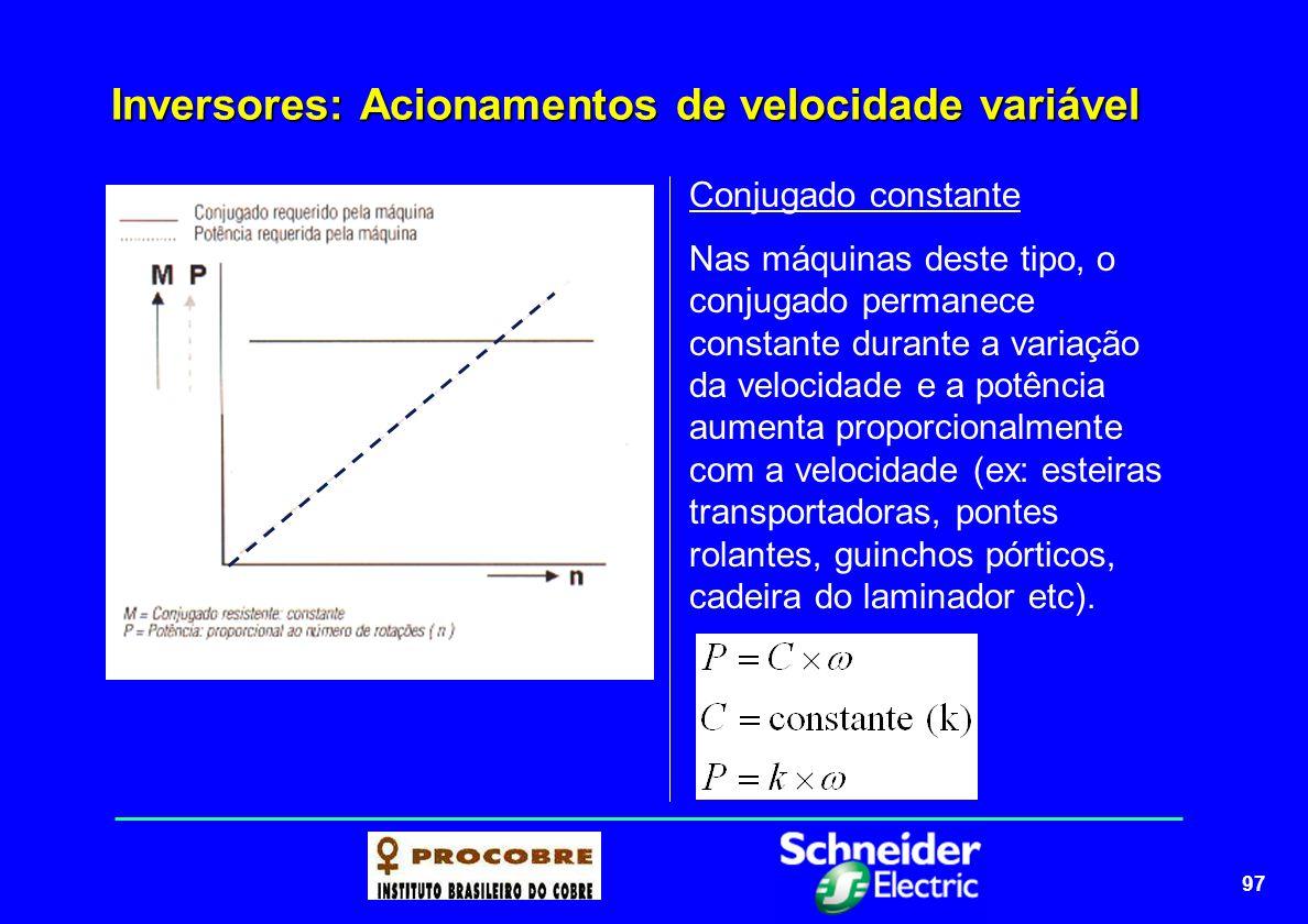 97 Inversores: Acionamentos de velocidade variável Conjugado constante Nas máquinas deste tipo, o conjugado permanece constante durante a variação da