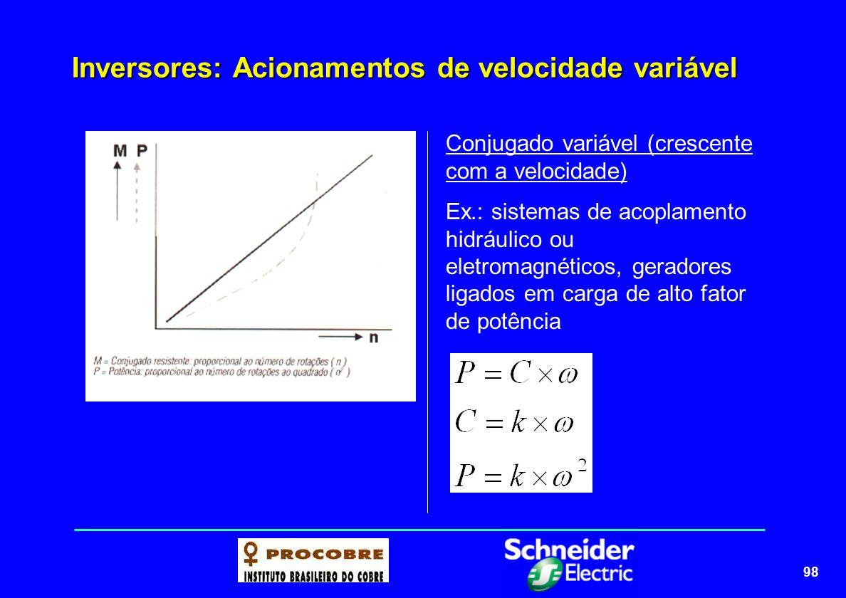 98 Inversores: Acionamentos de velocidade variável Conjugado variável (crescente com a velocidade) Ex.: sistemas de acoplamento hidráulico ou eletroma