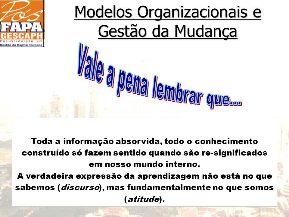 Modelos Organizacionais e Gestão da Mudança Toda a informação absorvida, todo o conhecimento construído só fazem sentido quando são re-significados em nosso mundo interno.
