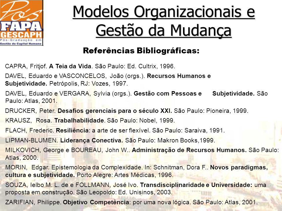 Modelos Organizacionais e Gestão da Mudança Referências Bibliográficas: CAPRA, Fritjof.