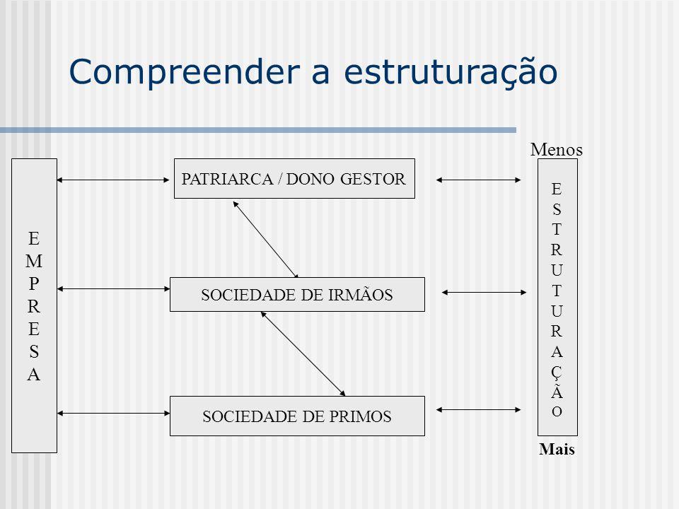 Compreender a estruturação Menos E S T R U T U R A Ç Ã O Mais PATRIARCA / DONO GESTOR EMPRESAEMPRESA SOCIEDADE DE IRMÃOS SOCIEDADE DE PRIMOS