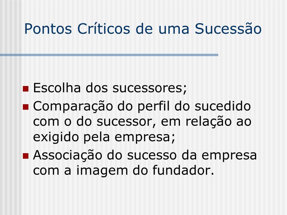 Pontos Críticos de uma Sucessão Escolha dos sucessores; Comparação do perfil do sucedido com o do sucessor, em relação ao exigido pela empresa; Associ