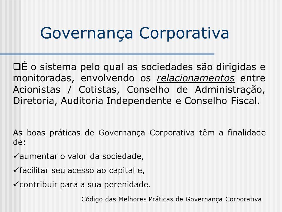 Governança Corporativa relacionamentos  É o sistema pelo qual as sociedades são dirigidas e monitoradas, envolvendo os relacionamentos entre Acionist