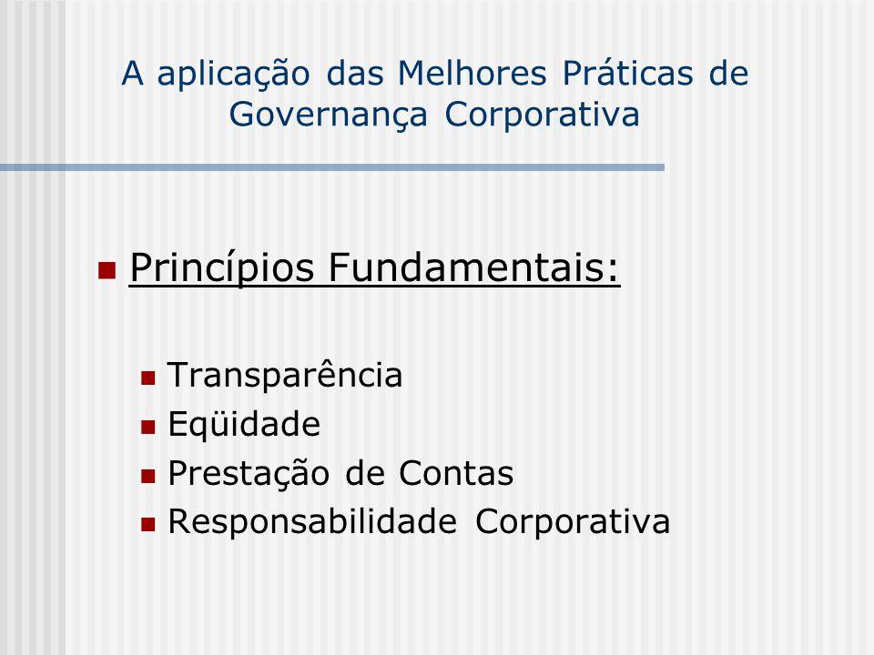 A aplicação das Melhores Práticas de Governança Corporativa Princípios Fundamentais: Transparência Eqüidade Prestação de Contas Responsabilidade Corpo