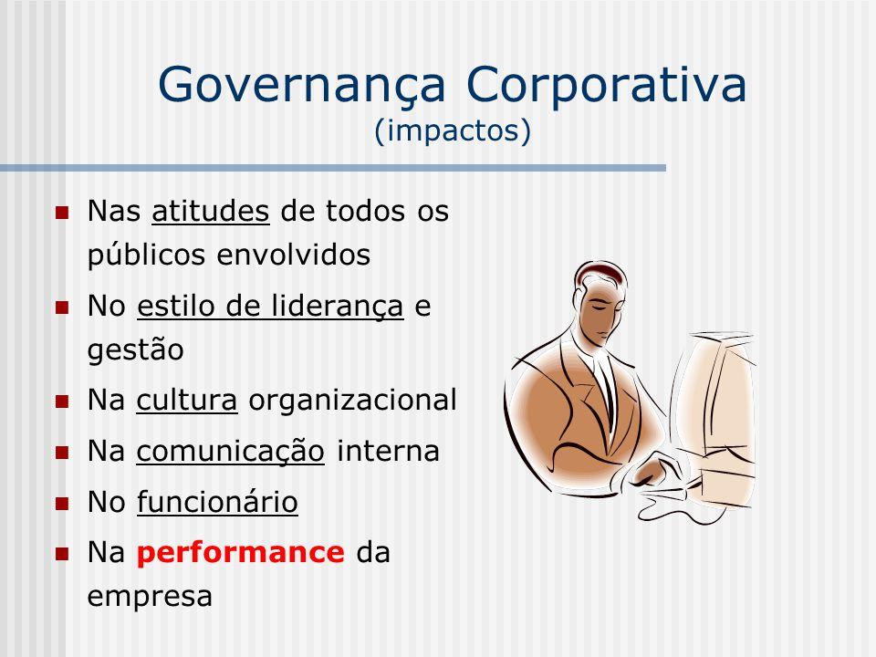 Governança Corporativa (impactos) Nas atitudes de todos os públicos envolvidos No estilo de liderança e gestão Na cultura organizacional Na comunicaçã