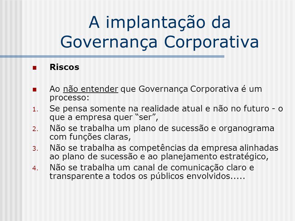 A implantação da Governança Corporativa Riscos Ao não entender que Governança Corporativa é um processo: 1. Se pensa somente na realidade atual e não