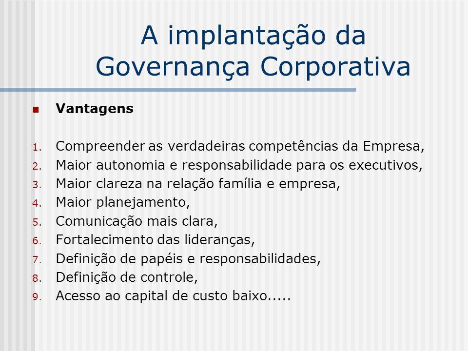 A implantação da Governança Corporativa Vantagens 1. Compreender as verdadeiras competências da Empresa, 2. Maior autonomia e responsabilidade para os