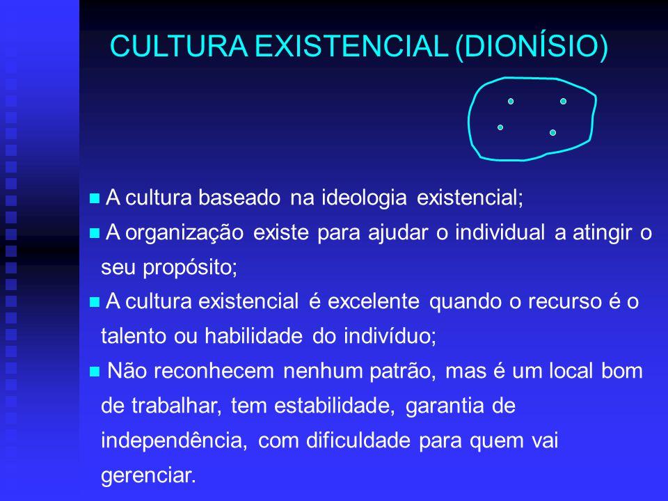 CULTURA EXISTENCIAL (DIONÍSIO) A cultura baseado na ideologia existencial; A organização existe para ajudar o individual a atingir o seu propósito; A