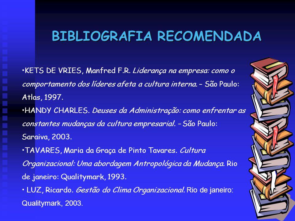 BIBLIOGRAFIA RECOMENDADA KETS DE VRIES, Manfred F.R. Liderança na empresa: como o comportamento dos líderes afeta a cultura interna. – São Paulo: Atla