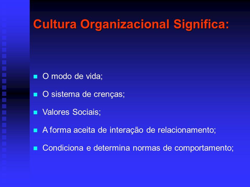 Cultura Organizacional Significa: O modo de vida; O sistema de crenças; Valores Sociais; A forma aceita de interação de relacionamento; Condiciona e d