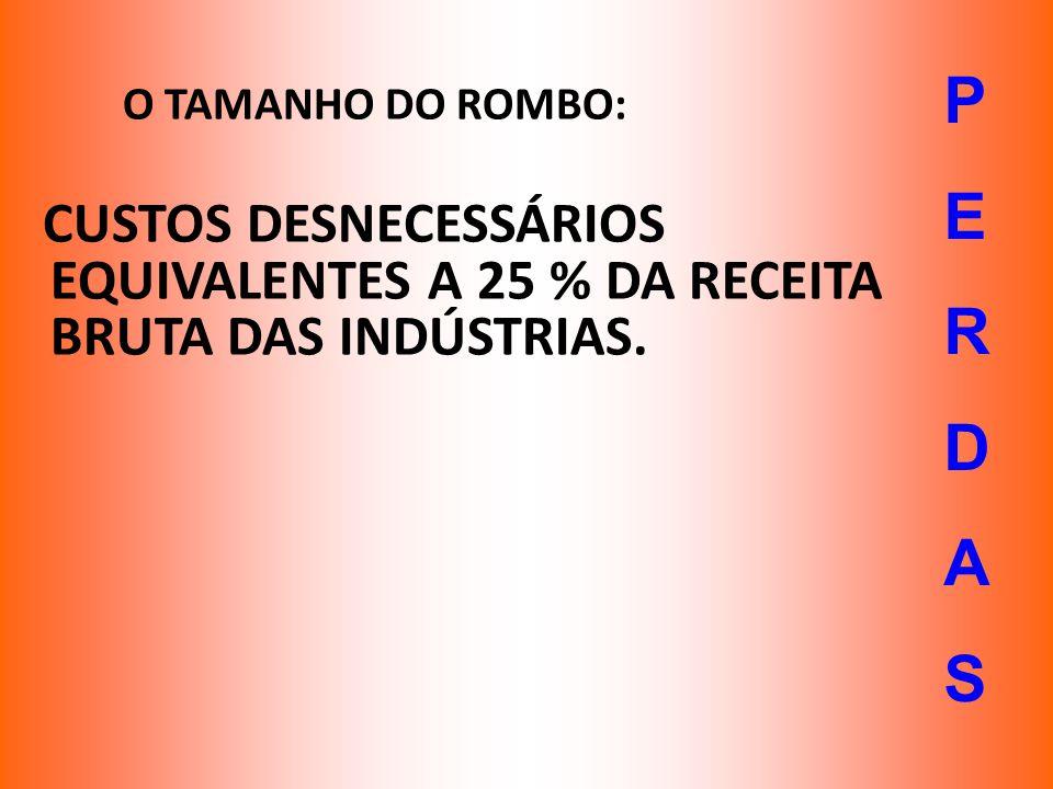 O TAMANHO DO ROMBO: CUSTOS DESNECESSÁRIOS EQUIVALENTES A 25 % DA RECEITA BRUTA DAS INDÚSTRIAS. PERDASPERDAS