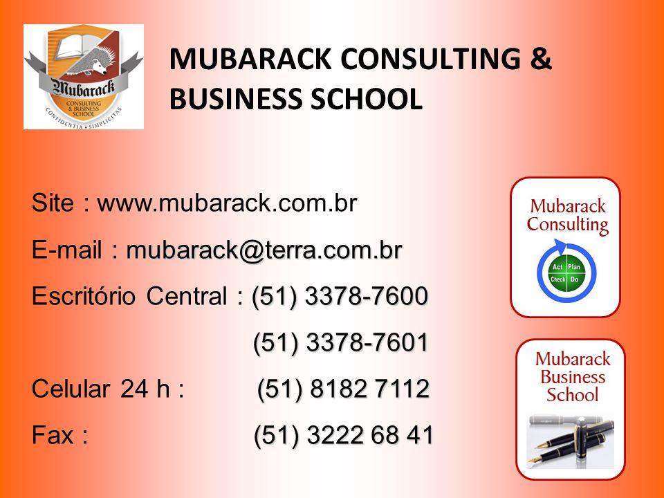 MUBARACK CONSULTING & BUSINESS SCHOOL Site : www.mubarack.com.br mubarack@terra.com.br E-mail : mubarack@terra.com.br (51) 3378-7600 Escritório Centra