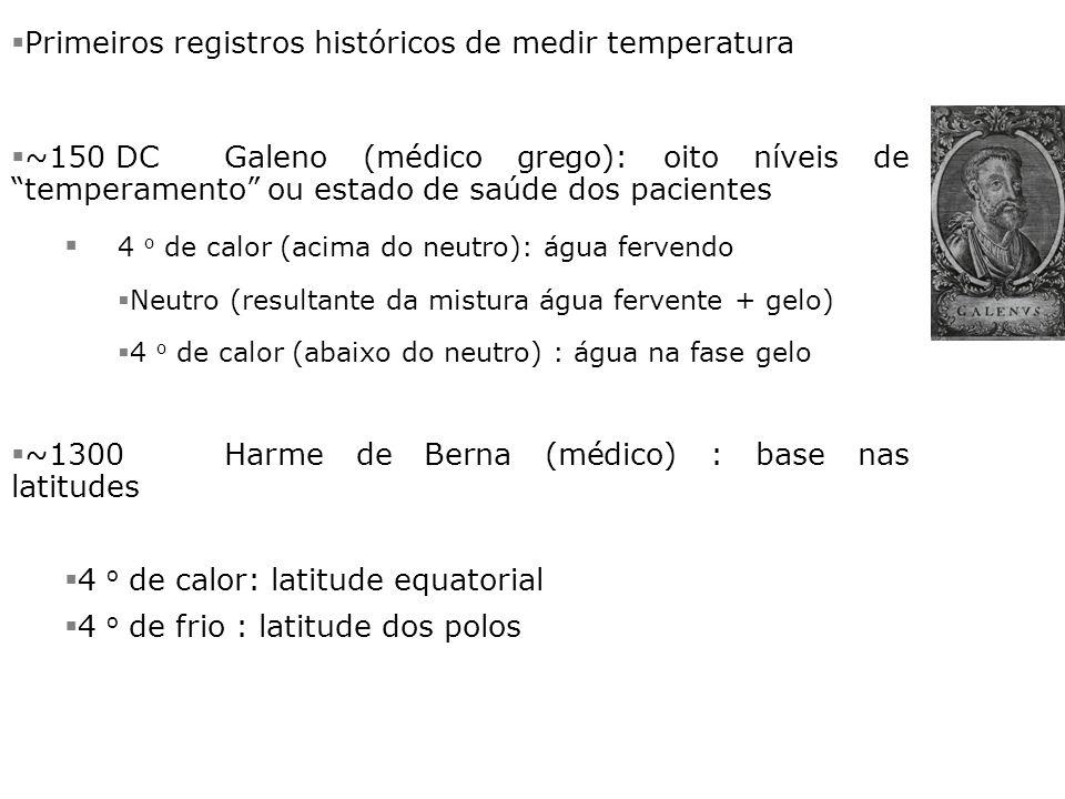 Termoscópio de Galileo §Itália (Renascimento) §Século 16 §– criação do termômetro moderno §1592 - Galileo Galilei inventa o termômetro rudimentar de água