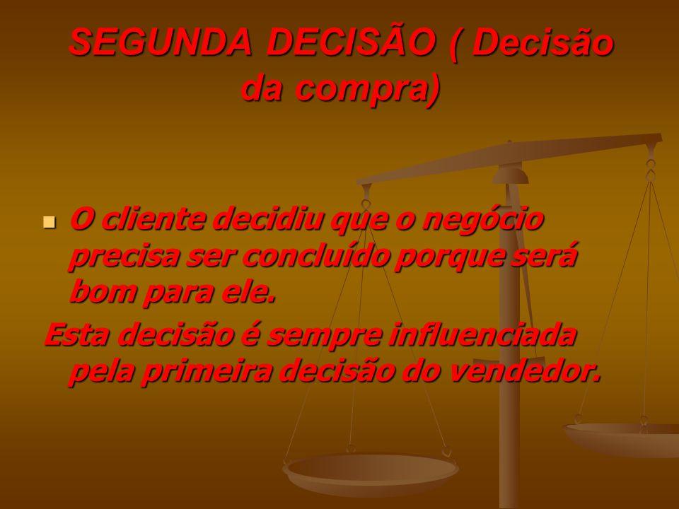 O fechamento da venda envolve a tomada de duas decisões importantes: PRIMEIRA DECISÃO (Decisão da venda) PRIMEIRA DECISÃO (Decisão da venda) O vendedor decidiu que a venda precisa ser fechada porque será bom para o cliente.
