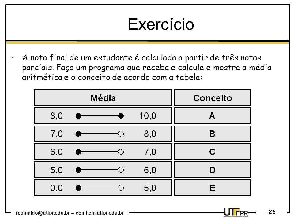 reginaldo@utfpr.edu.br – coinf.cm.utfpr.edu.br 26 Exercício A nota final de um estudante é calculada a partir de três notas parciais. Faça um programa