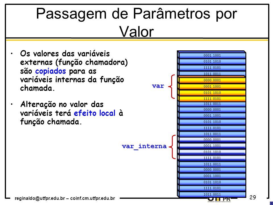 reginaldo@utfpr.edu.br – coinf.cm.utfpr.edu.br 29 1011 0011 1111 0101 0101 1010 0001 1001 0000 0001 1011 0011 1111 0101 0101 1010 0001 1001 0000 0001